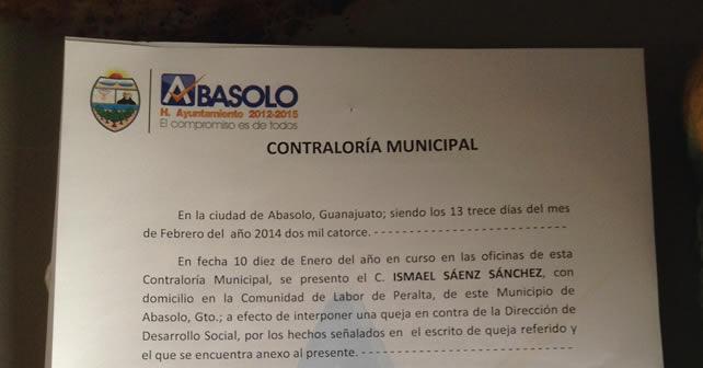 Photo of Contraloría municipal de Abasolo oculta información