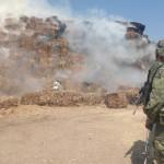 """Militares se """"convierten"""" en bomberos; atienden incendio en Abasolo"""