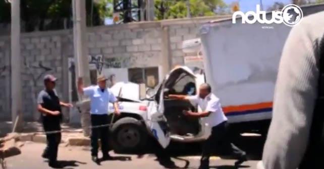 Un empleado de la empresa Lala resulto prensado en accidente
