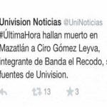 """Mata"" Univisión a Ciro Gómez Leyva en un tuit; lo confunde con Aldo Sarabia"