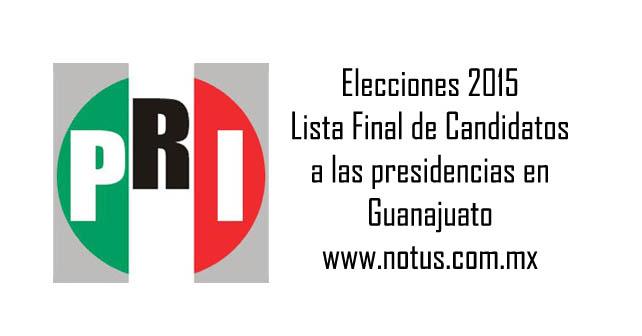 """Photo of Lista de los candidatos """"definitivos"""" del PRI a las alcaldías en Guanajuato"""
