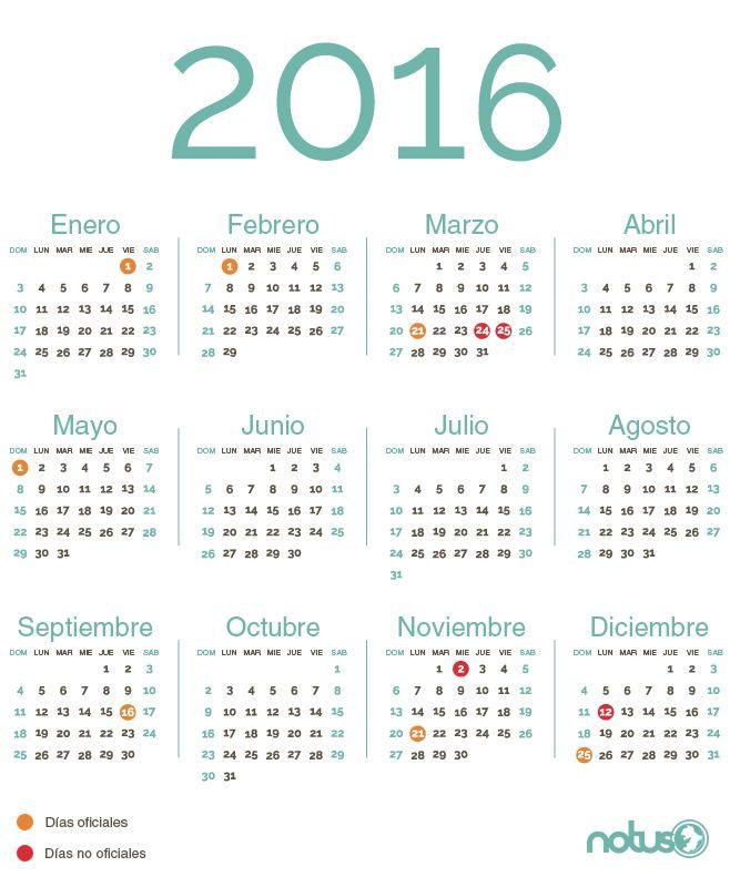 Asuetos en el 2016 (Calendario) - Periódico Notus