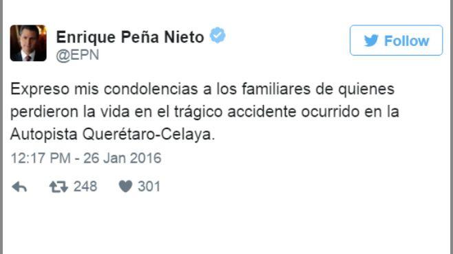"""Photo of Peña Nieto expresa condolencias por """"sanjuaneros"""" muertos"""