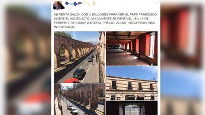 Photo of Ofrecen supuesta renta de balcón con costo de 22 mp para ver al Papa en Morelia
