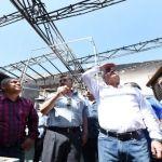 Supervisa alcalde Ricardo Ortiz trabajos de rescate de la estructura dañada por incendio en el Mercado Hidalgo