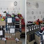 Aseguran a una persona y más de 600 pares de calzado falsificado
