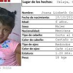Joana de 6 años, fue encontrada muerta al lado de las vías del tren; la buscaban sus papás