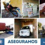 Con orden de cateo, recuperan cientos de cajas de abarrotes robados y vehículos; además de cartuchos útiles, en Abasolo
