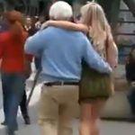 Así actuaron al ver un anciano besando a jovencita por San Valentín