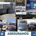 PGJE y SSPE aseguran en Irapuato gasolina robada y vehículos con reporte de robo