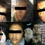 Aseguran en Cuerámaro a cinco personas que traían consigo cientos de cartuchos útiles y al menos 360 dosis de diversas drogas