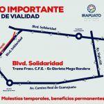 Continúan obras en Solidaridad; toma vías alternas