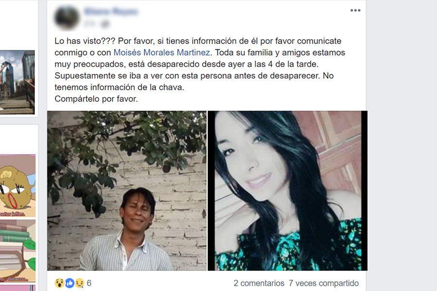Abdiel Pérez joven desaparecido, a un costado aparece la foto de la supuesta joven con la que había quedado de verse.