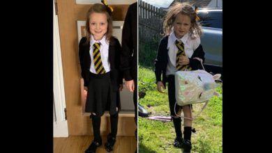 Photo of La foto del antes y el después de una niña en su primer día de clases que se volvió viral